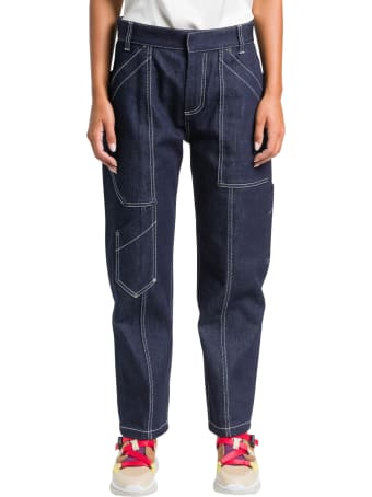 Chloé Cargo Jeans With White Stitching
