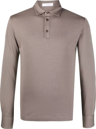 Cruciani Taupe Brown Cotton Blend Polo Shirt