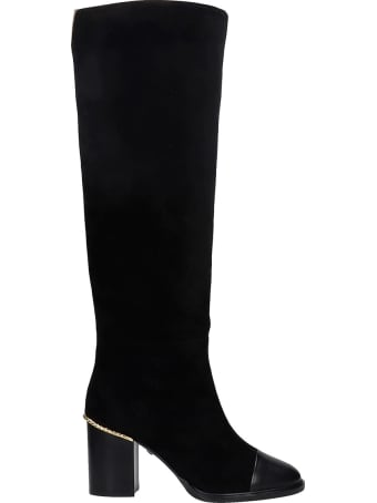 Grey Mer High Heels Boots In Black Suede