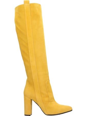 Via Roma 15 High Heels Boots In Yellow Suede