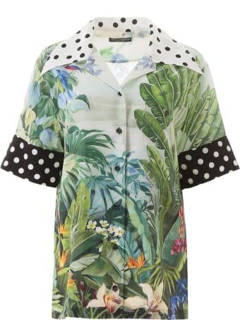 Dolce & Gabbana Jungle Tropical And Polka Dot Print Silk Shirt