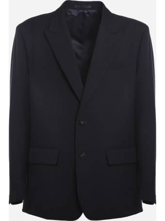 Valentino Single-breasted Wool Jacket With Logoed Buttons