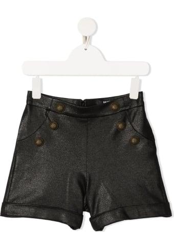 Balmain Kid Black Viscose Shorts With Gold Buttons
