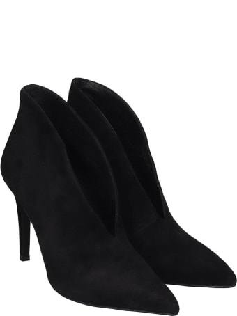 Jeffrey Campbell Electron  High Heels Ankle Boots In Black Suede