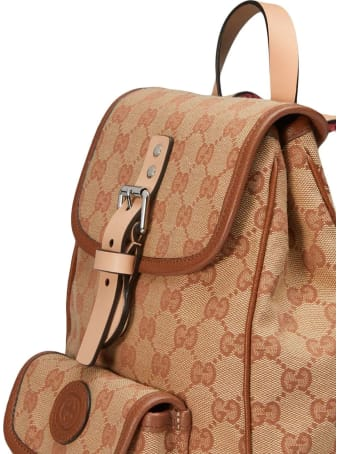 Gucci Brown/beige Cotton-blend Backpack