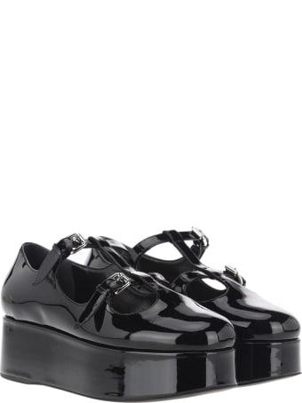 Miu Miu Patent Leather Wedge Ballerinas