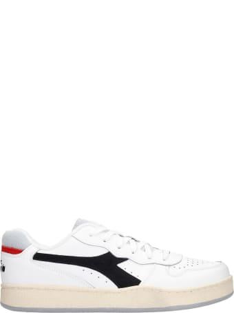 Diadora Mi Basket Low Sneakers In White Leather