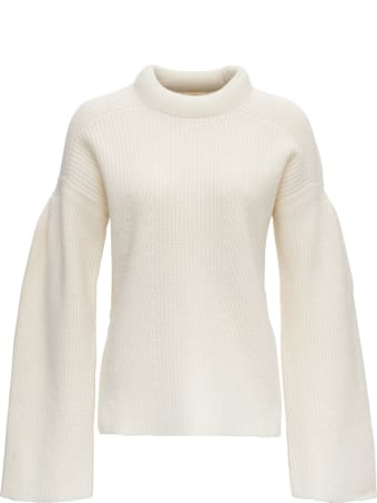 Loulou Studio Swaeter In Wool With Funnel Neck And Flared Sleeves