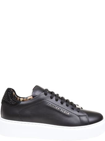 Philipp Plein Lo-top Sneaker In Leather With Crystal Inserts