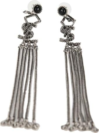 Saint Laurent Monogram Earrings In Metal And Glass With Textured Tassels