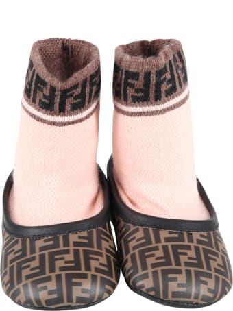 Fendi Brown Socks Shoes For Babygirl With Logo