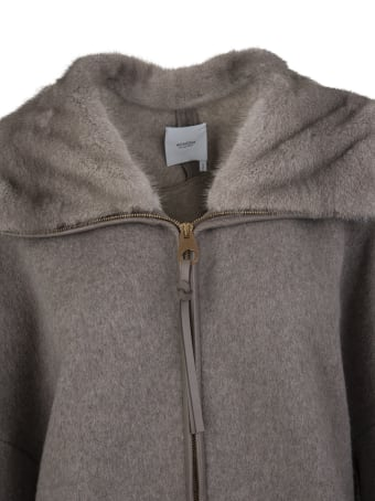 Agnona Woman Coat In Taupe Cashmere With Fur