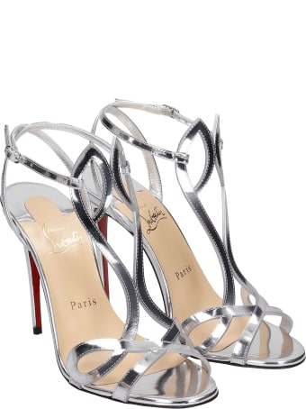 Christian Louboutin Double L 100 Sandals In Silver Leather