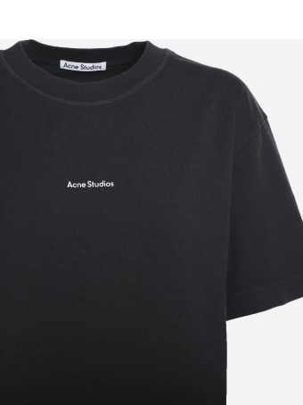 Acne Studios Cotton T-shirt With Contrasting Logo Print