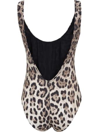 Dolce & Gabbana Slim Fit Animal Print Swimsuit