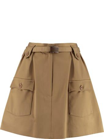Miu Miu Belted Cotton Skirt