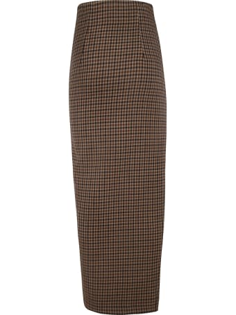 A.W.A.K.E. Mode High Waisted Gingham Maxi Pencil Skirt