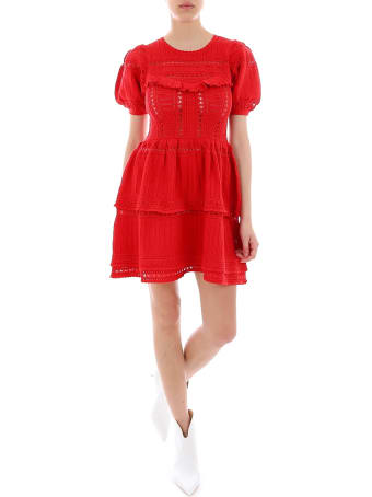 self-portrait Knitted Lace Mini Dress