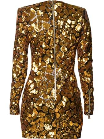 Balmain Short Ls Sequined Giraffe Pattern Dress