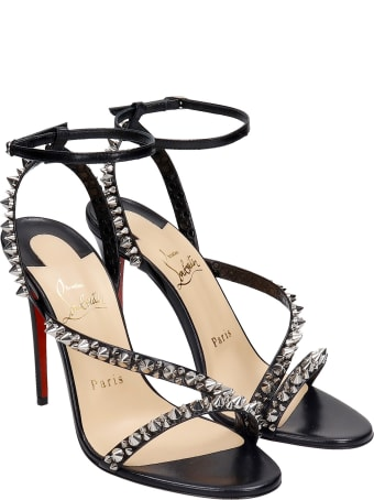 Christian Louboutin Mafaldina 100 Sandals In Black Leather
