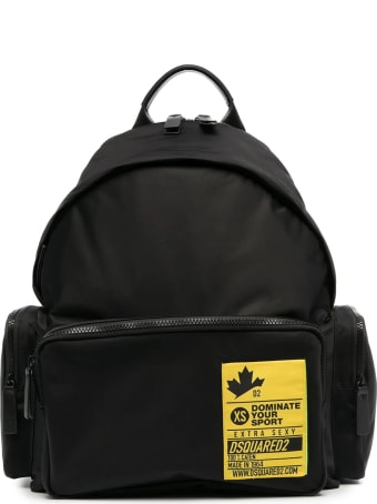 Dsquared2 Black And Yellow Nylon Backpack