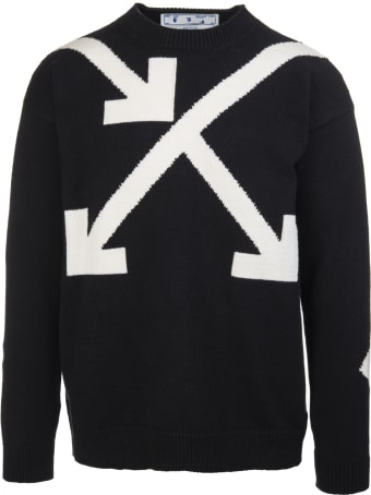 Off-White Man Black Pullover With Intertwined Arrows