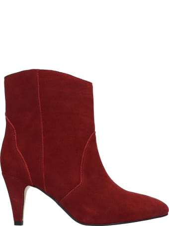 Bibi Lou High Heels Ankle Boots In Bordeaux Suede