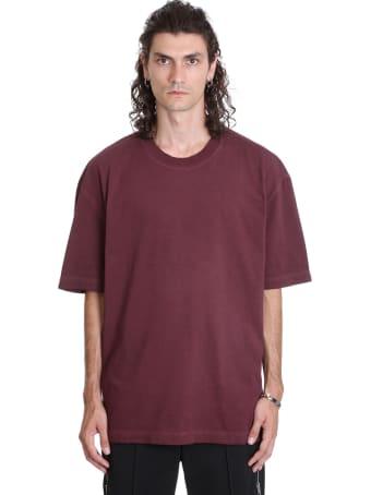 Maison Margiela T-shirt In Bordeaux Cotton