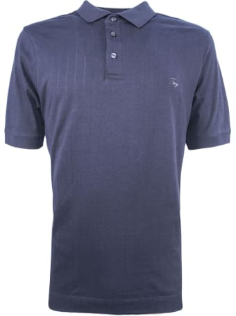 Fay Dark Blue Cotton Polo Shirt