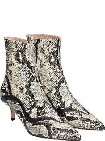 Paula Cademartori High Heels Ankle Boots In Grey Leather