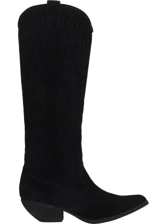 Jeffrey Campbell Calversa Texan Boots In Black Suede