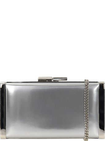 Jimmy Choo J-box Clutch In Silver Leather