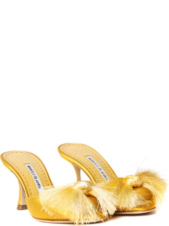 Manolo Blahnik Railda Silk Satin Mules