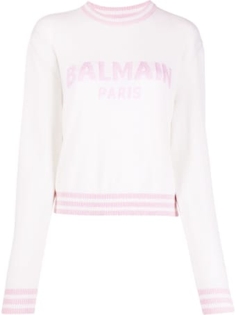 Balmain Knitted Jumper In Cashmere Blend With Logo And Padded Shoulders