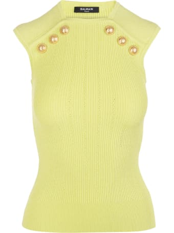 Balmain Lime Green Knitted Top With Golden Buttons