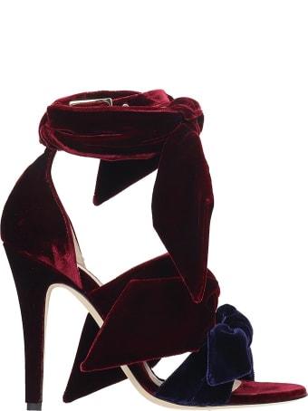GIA COUTURE Sandals In Bordeaux Velvet
