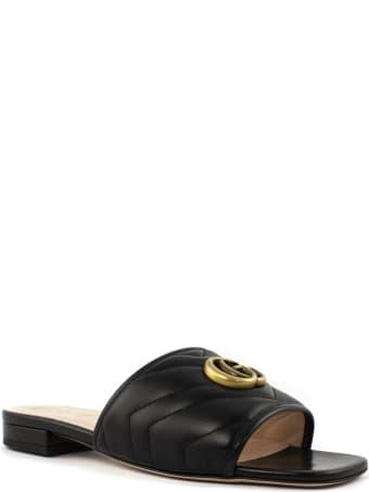 Gucci Black Matelassé Leather Slide