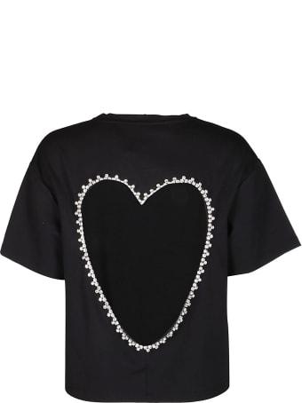 AREA Black Heart Embellished T-shirt