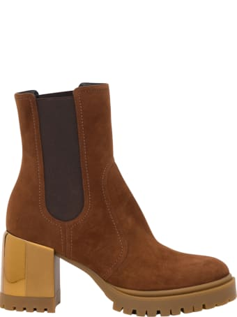 Casadei Suede Ankle Boots With Plated Chunky Heel