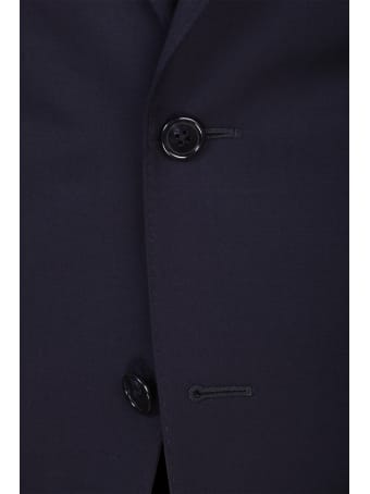 Corneliani blue lined dress. Collar