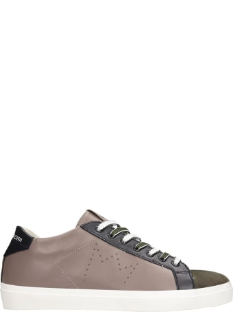 Leather Crown Sneakers In Taupe Suede And Leather