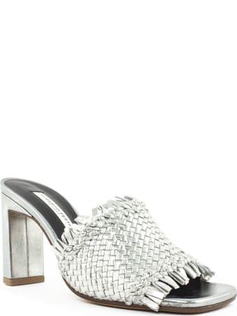 Roberto Festa Lola Silver-tone Woven Leather Sandal