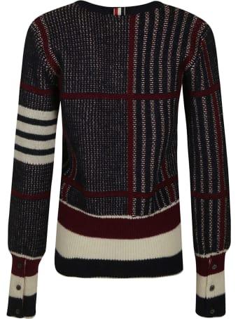 Thom Browne Oversized Check Jacquard V-neck Pullover