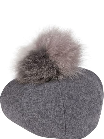 CA4LA Grey Wool Blend Hat