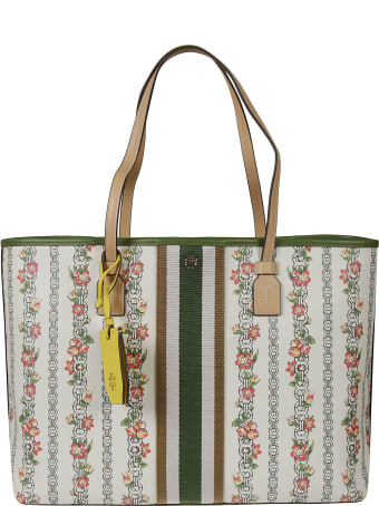 Tory Burch Gemini Link Canvass Floral Tote