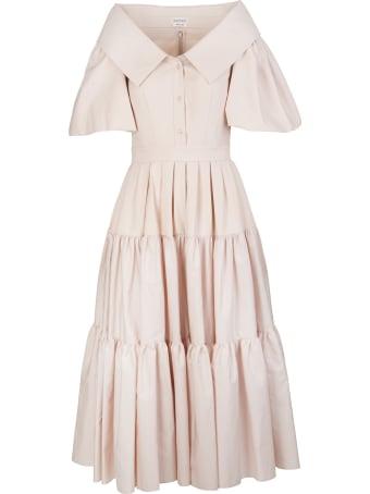 Alexander McQueen Pale Pink Poplin Midi Dress With Open Collar