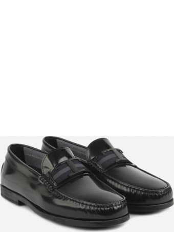 Tod's Leather Loafers With Grosgrain Band And Logo Detail