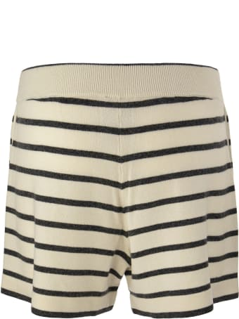 Brunello Cucinelli Virgin Wool, Cashmere And Silk Striped Knit Shorts