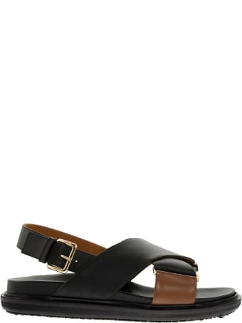 Marni Criss Cross Fussbett Sandal In Black/brown