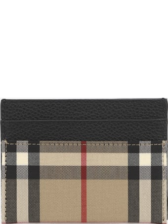 Burberry Cotton Card Holder With Vintage Check Print